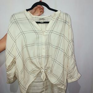 Lucky Brand Plaid Button-down Shimmery Top